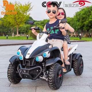 White Licensed Dooma Rechargeable Ride On Motorcycle ATV Big Bike with Rubber Tires