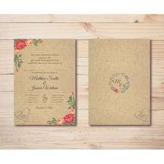 Vintage Garden Theme Wedding Invitation Printable Template