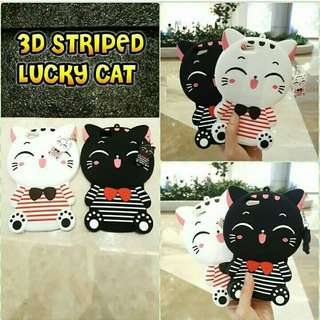 3D striped lucky cat case