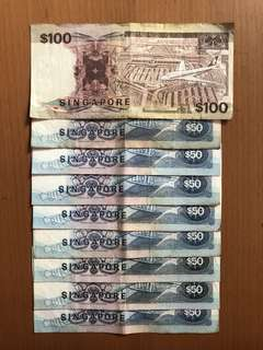 Old Currency - $50, $100 Notes