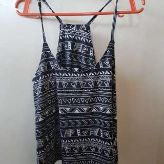 Printed Black Spaghetti Straps Top