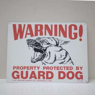 Vintage 1981 Four Paws Guard Dog Sign
