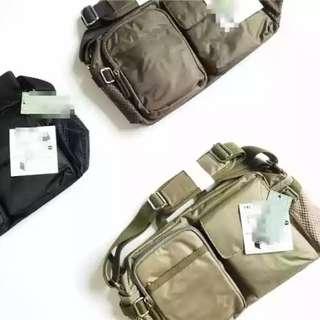 日本 高品質 軍綠色 多功能斜挎袋手提包戶外運動挎包 結實耐用