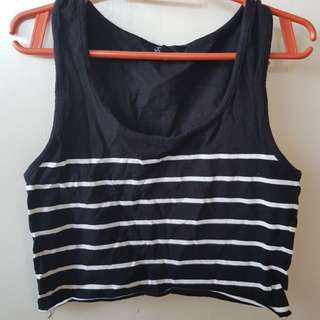 Forever21 Black & White striped Crop Top