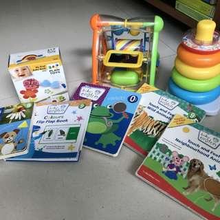 Baby Einstein books and random toys