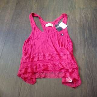 (New) Hollister white/hot pink lace tank top 白/桃紅厘士背心