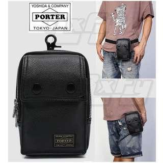 Black PU Leather Porter Yoshida 2 Button Waist Belt Bag Pouch Sling
