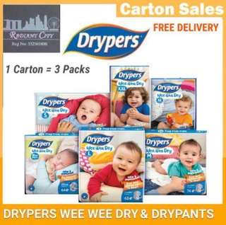 DRYPERS WEE WEE DRY DIAPERS CARTON OF 3 PACKETS SALE (FREE DELIVERY 📦)....