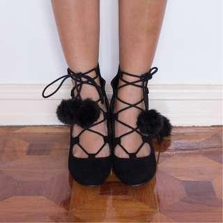 ASOS strappy pompom chunky heeled pumps