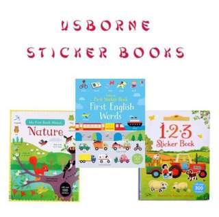 Usborne First Sticker Books First English Words l Nature l Farmyard Tales 123