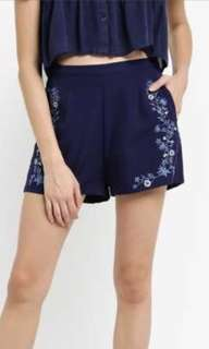 BNWT Something Borrowed Navy Blue Embroidered Shorts