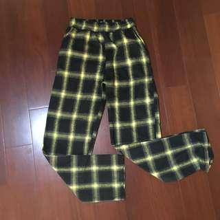 伸縮黃黑格子長褲