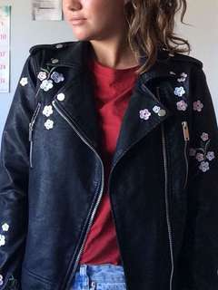 Cute embroidered leather jacket