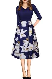 V-Neck Floral Print Pleated Swing Dresses (KR098186)
