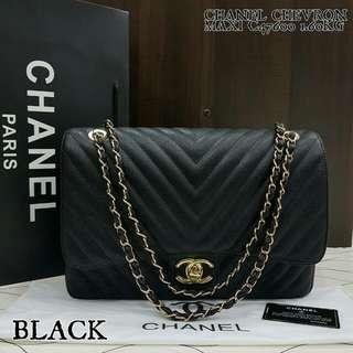Chanel Maxi Jumbo Chevron Black Color