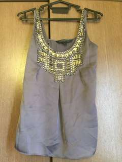 Grey beaded top