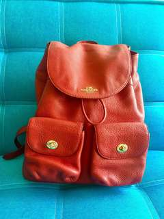COACH Pebbled Leather Bille Backpack Red Classic