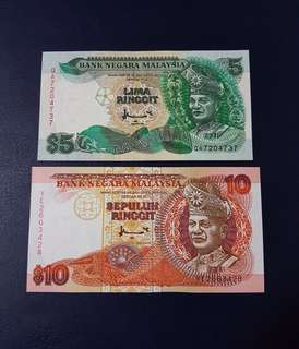 🇲🇾 Malaysia 7th Series RM5 RM10 Banknote