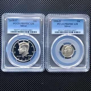 PCGS PR69DCAM 2006-S 美國半元,一毫 精鑄銀幣一對