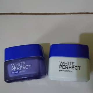 Loreal white perfect day cream and night cream
