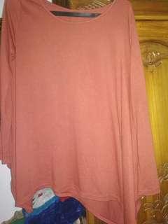Baju merah bata fit XL
