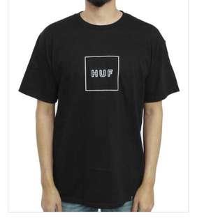 HUF tee box logo puff t-shirt black L