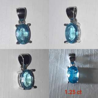 🍀Natural Neon blue Apatite Faceted/pendant. With ready casing in 925 silver plated white gold.