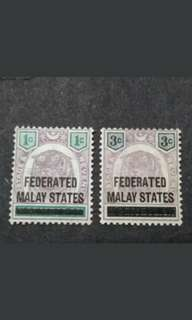 N.Sembilan Overprint Federated Malay States 1900 Tiger Old Stamps - 2v MH Malaya Stamps
