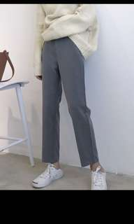 全新中高腰灰色西裝褲M