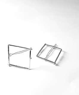 Silver square hair clip barette