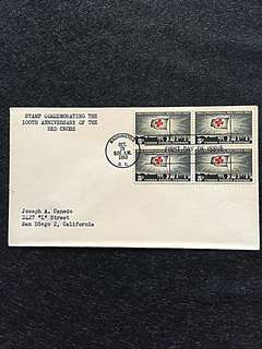US 1963 Red Cross Blk4 FDC Stamp
