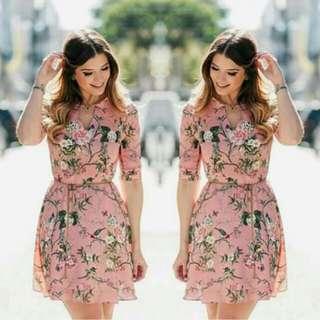 Korean Floral Dress(belt included)
