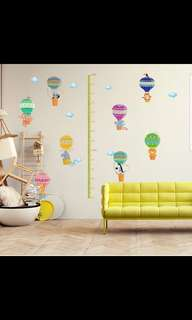 Cartoon Child Height Bar Sticker Hot air balloon Living room Bedroom Stickers Self-adhesive Baby Height Sticker Can be removed ( Raw sticker size 90x60cm )
