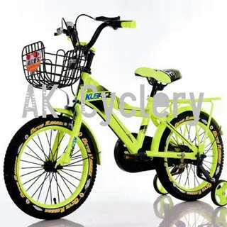 "Kid's Bike 14"" KUBAGE Training Wheels Basket Mudguards"