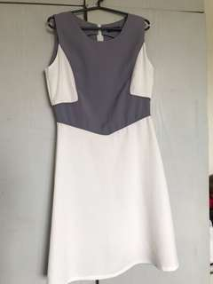 White with gray details sleeveless dress