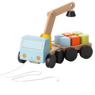 Crane with blocks, multicolour, beech