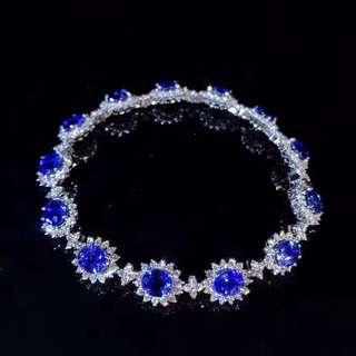 18K white gold Sri Lankan blue sapphires diamond bracelet