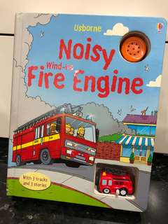 Usborne Giant Fire Engine Sound Board Book with Wind up Toy (Like New)