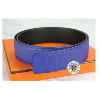 HM REVERSIBLE 42 MM EPSOM 95 BELT, BLEU ELECTRIQUE+BLACK 全新 皮帶 藍色