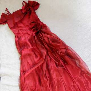 Organza Red Long Dress