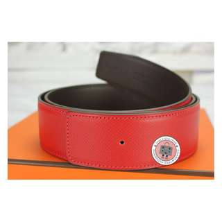 (NEW)Hermes REVERSIBLE 42 MM EPSOM 95 BELT, ROUGE CASAQUE+CHOCOLATE 全新 皮帶 紅色