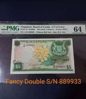 🇸🇬 Singapore Orchid Series $5 Banknote~HSS Without Red Seal~Last Prefix A25 889933~Fancy Double S/N 👉发发久久升升👈~PMG64 Choice Uncirculated
