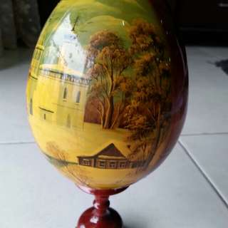 Russian Hand Painted Wooden Egg