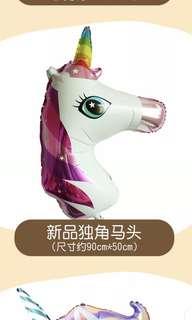 Unicorn head foil balloon
