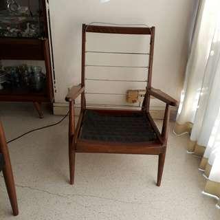 vintage mid century high back Danish pencil leg armchair