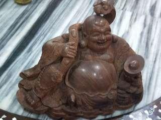 黄花梨弥勒佛。Huang Hua Li Buddha