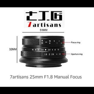 7Artisans 25mm F1.8 APS-C Lens