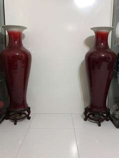 Pair of red vases