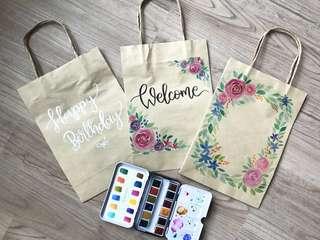 Calligraphy watercolor kraft paper bags