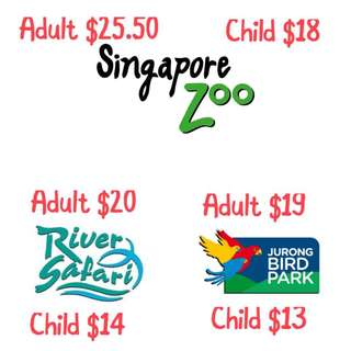 SG ZOO/RIVER SAFARI/BIRD PARK